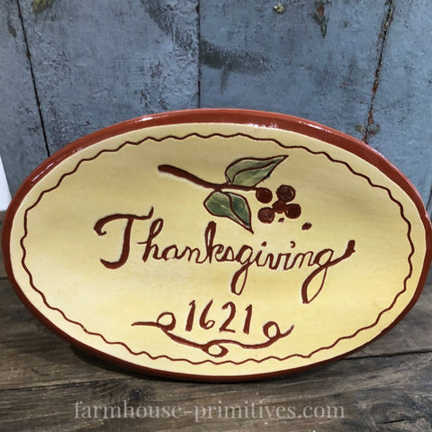 Thanksgiving 1621 Redware Plate - Farmhouse-Primitives
