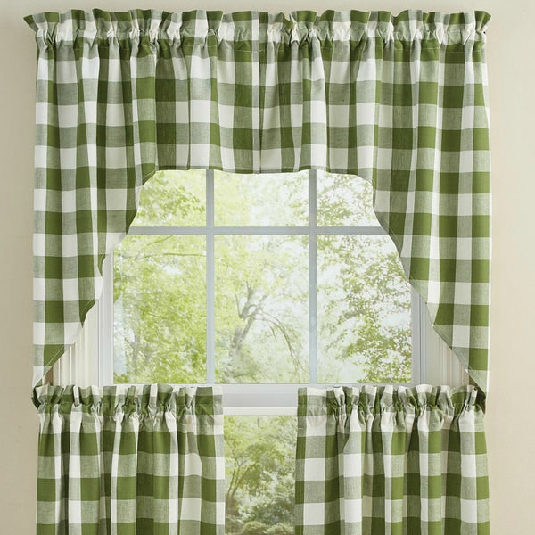 Wicklow Green Window Curtains - Farmhouse-Primitives