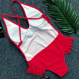 New Red Ruffles Thong Bikini Push-Up