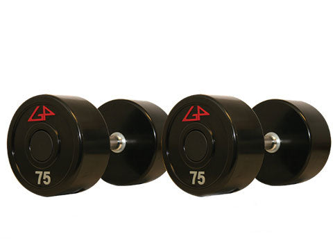 Factory photo of a New GP Industries Series 1 Uni Lock Straight Handle Solid Urethane Dumbbell Set 55 100 lbs