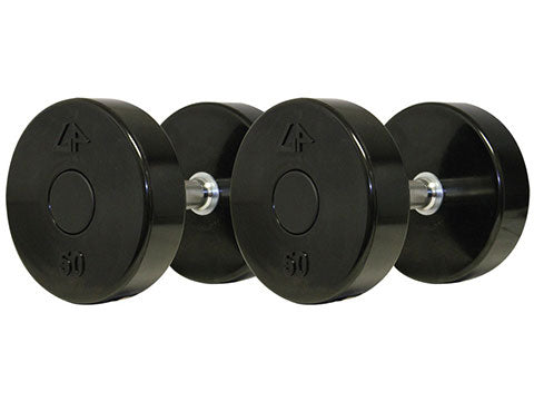 Factory photo of a New GP Industries Uni Lock Straight Handle Solid Head VM TPU Urethane Dumbbell Set 5 50 lbs