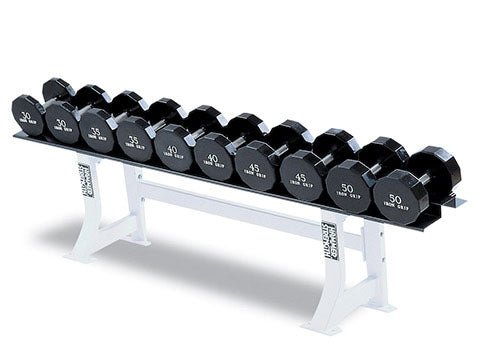 Factory photo of a Used Hammer Strength Single Tier 5 pair Dumbbell Rack with Saddles