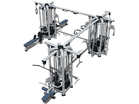 Factory photo of a Refurbished Life Fitness Signature 12 stack Multi Station