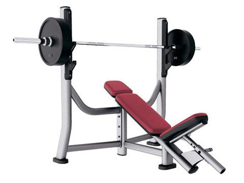 Factory photo of a Refurbished Life Fitness Signature Olympic Incline Bench