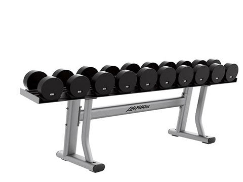 Factory photo of a Refurbished Life Fitness Signature single tier 5 pair Dumbbell Rack with Saddles