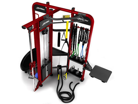 Factory photo of a Used Life Fitness SYNRGY360T Multi user Exercise System with Mix Package and Rebounder