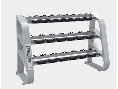 Factory photo of a Used Precor Icarian 3 tier 10 pair Beauty Bell Rack with Saddles