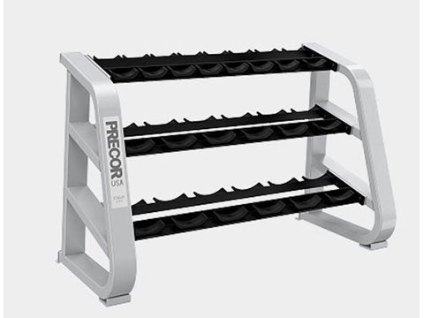 Factory photo of a Used Precor Icarian 3 tier 10 pair Dumbbell Rack