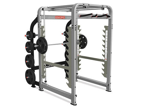 Factory photo of a Refurbished Star Trac Leverage Plate Loaded Max Rack Smith Machine and Power Cage