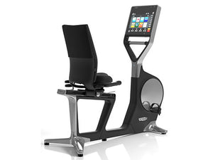 Factory photo of a Refurbished Technogym Recline Personal Recumbent Bike with Unity Display