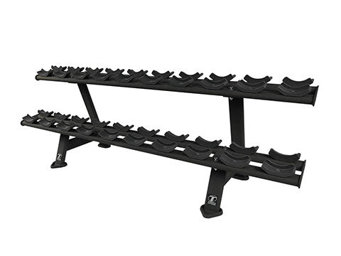 Factory photo of a New Torque 2 tier 10 pair Dumbbell Rack with saddles
