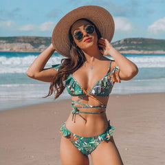 Hot Sale Off The Shoulder Print Ruffled Bikini Mujer 2018