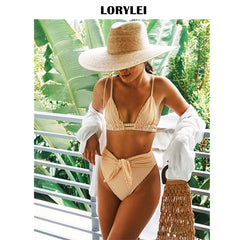 2019 Summer Sexy Bikini Set Vintage Striped Push Up High Waist Swim Wear