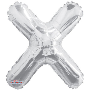 "LETRA ""X"" INFLABLE PLATA METÁLICO 14"" (35 CM)"