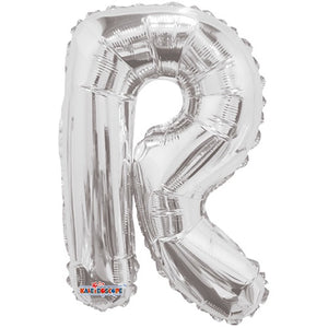 "LETRA ""R"" INFLABLE PLATA METÁLICO 14"" (35 CM)"