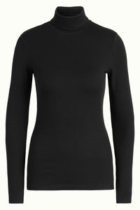 Rollneck Top uni Rib Tencel black King Louie