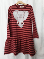 Kinder Kleid Birdy Dress Dark Rose/ Deep Red Elefant gestreift Dyr Cph