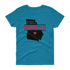 My Heart Is Always In Georgia Women's (Black) T-shirt