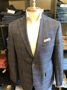 Jack Victor Navy with Tan Over Plaid Jacket