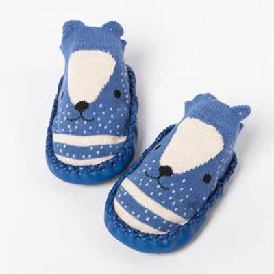 Soft Sole Dark Blue Animal Slippers