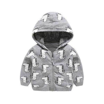 Grey Cartoon Dinosaur Hoodie