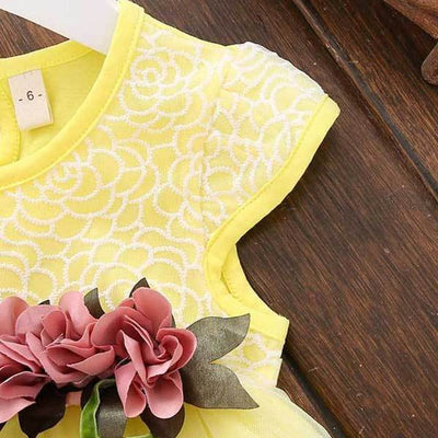 Solid Yellow Flower Dress