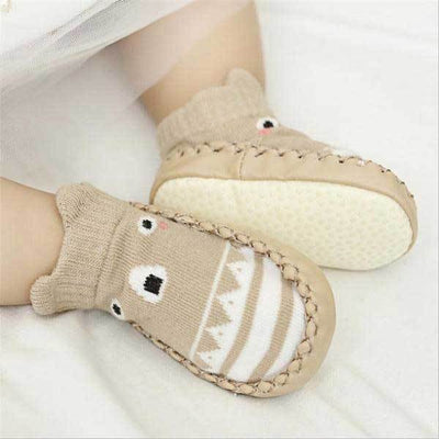 Soft Sole Beige Animal Slippers
