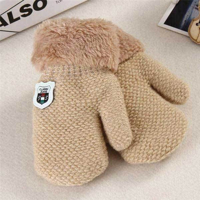 Beige Full Finger Faux Gloves