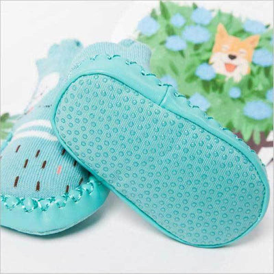 Soft Sole Blue Animal Slippers