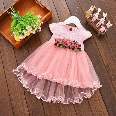 Solid Pink Flower Dress