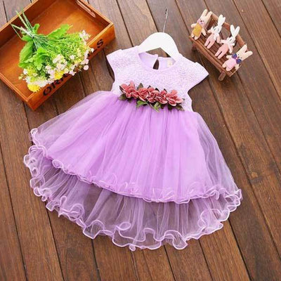 Solid Purple Flower Dress