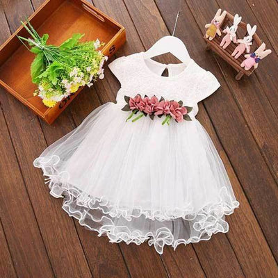 Solid White Flower Dress