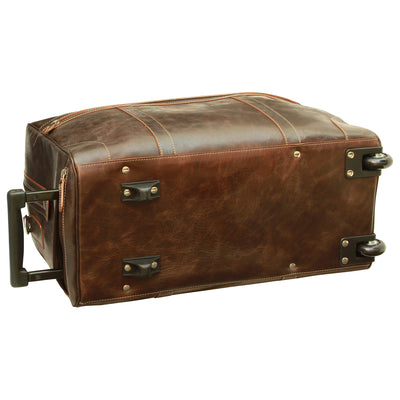 Travel Trolley Bay - Dark Brown - Italian Calfskin Leather