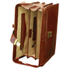 Briefcase With 3 Compartments - Brown - Italian Calfskin Leather