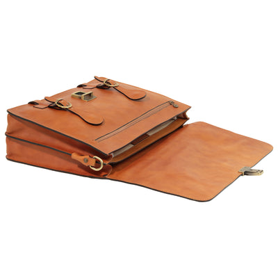 Briefcase With Buckle Closures - Colonial - Italian Calfskin Leather
