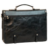 Briefcase With Buckle Closures - Black - Italian Calfskin Leather