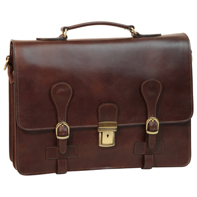 Briefcase With Buckle Closures - Dark Brown - Italian Calfskin Leather