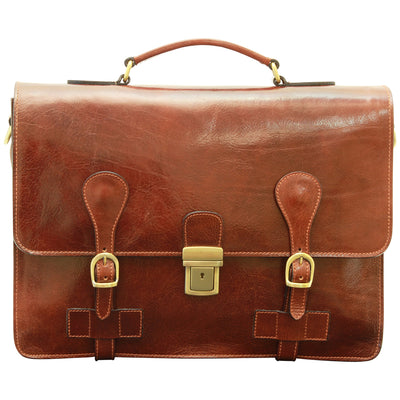 Briefcase With Buckle Closures - Brown - Italian Calfskin Leather