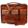 Briefcase With 2 Front Pockets - Brown - Italian Calfskin Leather