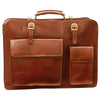 Briefcase With Front Pockets (Magnetic Lock) - Brown - Italian Calfskin Leather