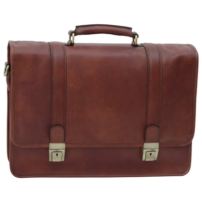 Briefcase with shoulder strap - Brown - Italian Calfskin Leather