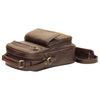 Shoulder Bag With Front Pocket - Dark Brown - Italian Calfskin Leather