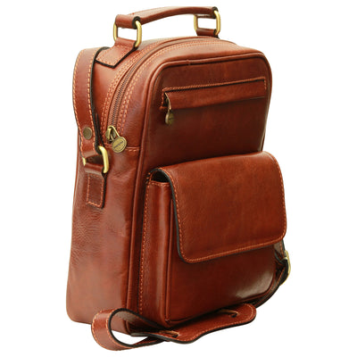 Shoulder Bag With Front Pocket - Brown - Italian Calfskin Leather
