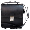 Cross Body Satchel Bag - Black - Italian Calfskin Leather