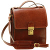 Cross Body Satchel Bag - Dark Brown - Italian Calfskin Leather