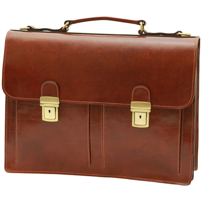 Briefcase With 2 Compatments - Brown - Italian Calfskin Leather