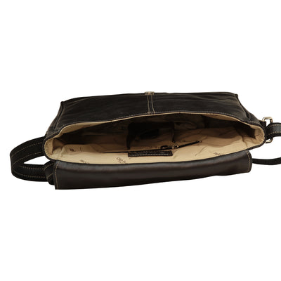 Messenger Bag - Black - Italian Calfskin Leather