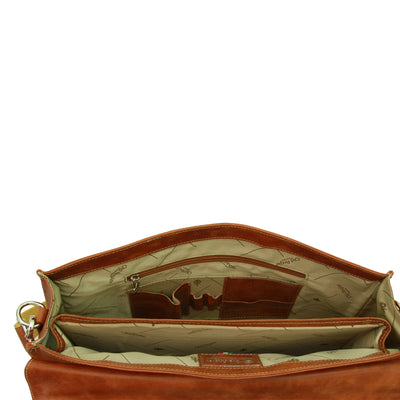 Laptop Briefcase - Brown Colonial - Italian Calfskin Leather