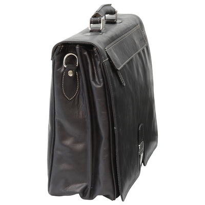 Briefcase with frontal zip pocket - Black - Italian Calfskin Leather