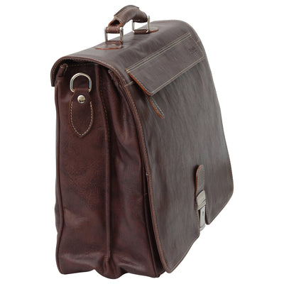 Briefcase with frontal zip pocket - Dark Brown - Italian Calfskin Leather